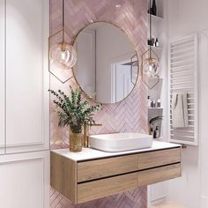 Pink Bathroom Tiles, Pink Tiles, White Tiles, Modern Bathroom, Pink Bathrooms, Master Bathrooms, Dream Bathrooms, Mirrored Tile Bathroom, White Bathroom With Wallpaper