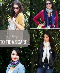 3 Super Stylish Ways to Tie a Scarf Read more at http://hellonatural.co/how-to-tie-a-scarf/#11jxq66qZFMSEtEl.99