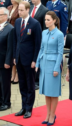 The Duke and Duchess of Cambridge attend a wreath-laying and commemoration service in Blenheim 9 April 2014