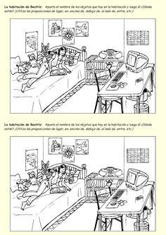 Me encanta escribir en español: ¿Qué hay en la habitación (el cuarto)? Spanish Grammar, Spanish 1, Spanish Teacher, Spanish Classroom, Teaching Spanish, Spanish Language, Spanish House, English Grammar, Spanish Worksheets