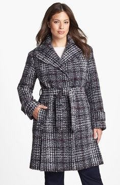 $108, Grey Plaid Coat: DKNY Belted Plaid Tweed Coat. Sold by Nordstrom. Click for more info: https://lookastic.com/women/shop_items/136343/redirect