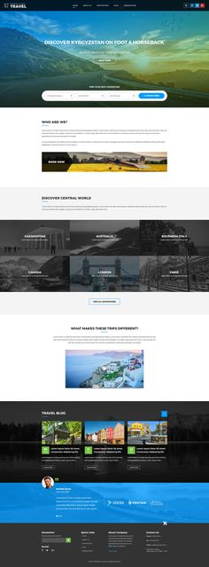 Multi-Purpose Tour & Travel PSD Template is suitable for all services related to tourism such as hotels, resorts, package tours, events, honeymoon, cruise, travel agency, tour operator, travel blog...
