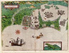 Sir Francis Drake in Cartagena 1585; Hand-colored engraving, by Baptista Boazio, 1589.