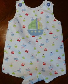 """""""Johnny"""" pattern by Children's Corner in Fabric Finders lined print pique, with sailboat applique from Hang to Dry"""