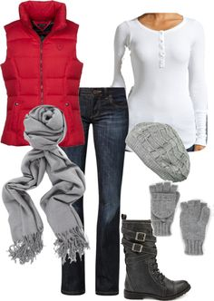 A fashion look from February 2013 featuring thermal tops, red vest and bootcut jeans. Browse and shop related looks. Vest Outfits, Mode Outfits, Casual Outfits, Fashion Outfits, Womens Fashion, Fashion Boots, Fashion Tips, Fall Winter Outfits, Autumn Winter Fashion