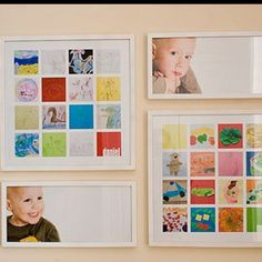 Child's artwork.  Take a picture.  Photoshop pictures of art into a collage.  Frame.  Brilliant.  See iheartorganizing.blogspot.com