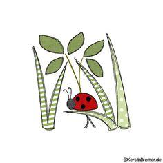 Marienkäfer im Gras Doodle Stickdatei