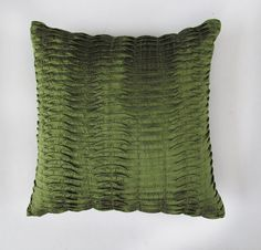 olive green pillow 18x18  inch silk decorative throw pillow. In Stock