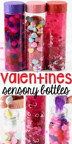Valentines Sensory Bottles to help students calm down, for sensory processing, or fun science exploration. #sensory bottles #preschool #prek #toddler