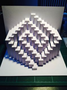DIY Template 9x9 Meander kirigami paper sculpture by Ullagami