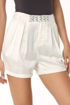 Faith Connexion Pleated Shorts Off-White $59.99 {Beyond the Rack}