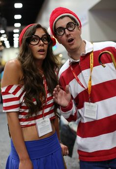 Where's Wenda & Waldo? Awesome couple costume - OMIGOSH, Bear has a Waldo costume. This would be perfect!