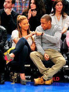 Teamwork! Jay-Z and Beyonce shared a fist-bump during a Nets v. Knicks game