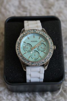 Fossil Stella Ladies Aqua Teal Blue Boyfriend Watch Crystal Bezel ES2894 | eBay