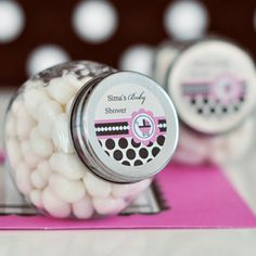 Personalized Candy Jar Baby Shower Favors - Pink Baby Shower