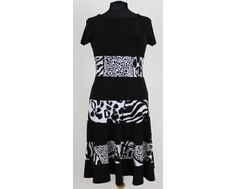 Black stretch jersey dress with horizontal animal print blocks around front and back. Now on our website www.middletonwood.co.uk inn sizes 10-16
