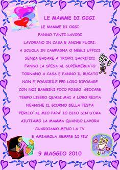 poesie festa della mamma - Cerca con Google Italian Words, Happy Mom, Mamma Mia, Nursery Rhymes, Diy And Crafts, Education, Day, Cards, Google