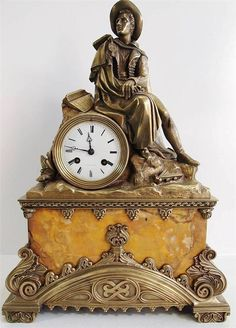 Exotic Clocks | Exotic Antique Clocks | Antique clocks mid 19thc French figural solid ...