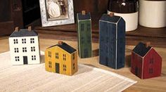 Primitive Country Folk Art Saltbox HOUSE Set 5 Wood Block Painted Houses #Country