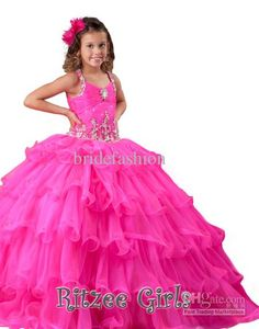 Cheap Little Girl's Pageant Dresses New Amazing Ball Gown Ritzee Flowers Beads Tulle Pageant Dresses For Girls from Bridefashion,$80.56   DHgate.com