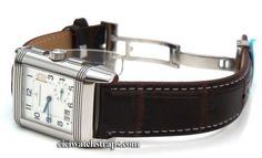 Dark Brown Crocodile Watchstrap White Stitching on butterfly deployant clasp Jaeger-LeCoultre Revers