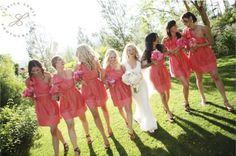 "my ""coral"" bridesmaids"