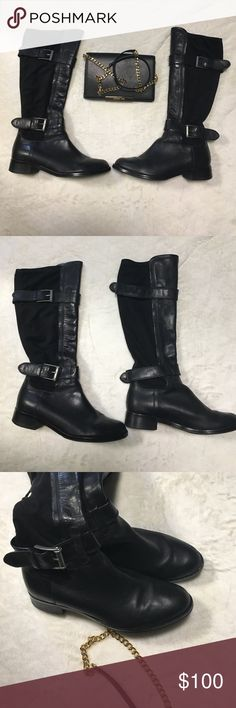 Black Cole Haan riding boots Cole Haan black riding boots. Leather in the front and Suede in the back and has two buckle straps top and bottom. Gently used in great condition Cole Haan Shoes Combat & Moto Boots