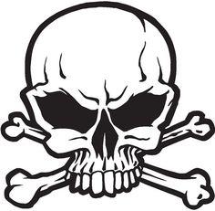 Graphic Tribal Skull | Skull Decal Sticker 02, Skull and Crossbones Decals
