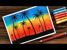 Landscape Drawing for beginners with Oil Pastel Step by Step - YouTube