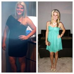 "All my baby weight is finally off!! Both of these ""befores"" were taken less than a year ago and both of these ""afters"" were taken this past weekend. The turquoise dress was only worn once before- at my HIGHSCHOOL GRAD dinner when I was 18, 5 years ago... and I remember it feeling way tighter back then!"