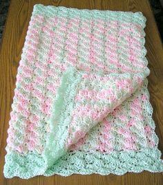 fancy crochet stitch for baby afghan | Crochet Baby Afghan Lap Blanket Sea Foam by CarriesCraftStore