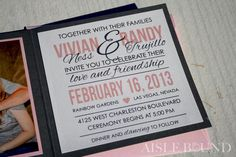 Dark Grey and Candy Pink Wedding Photo Invitations by @aislebound
