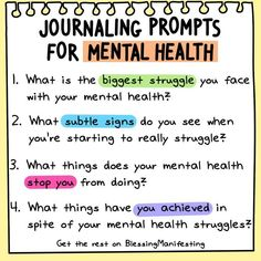 12 Journaling Prompts for Mental Health - Blessing Manifesting - - 12 Journaling Prompts for Mental Health! Journaling has been a huge aspect of my mental health so here are 12 prompts to help you analyze mental health. Mental Health Advocacy, Free Mental Health, Mental Health Therapy, Mental Health Quotes, Mental Health Questions, Mental Health Education, Mental Health Awareness, Bullet Journal Mental Health, Self Care Bullet Journal