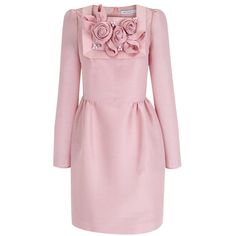 The 2nd Skin Co Crystals & Flowers Pink Mini-dress (11.899.300 IDR) ❤ liked on Polyvore featuring dresses, pink, long sleeve dress, short dresses, embellished mini dress, embroidery dress and pink mini dress