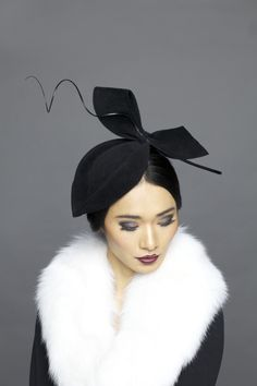 Lock & Co Hatters, Couture Millinery A/W 2013 - Pearle White black marquise shaped hat Millinery Hats, Fascinator Hats, Fascinators, Headpieces, Look Vintage, Vintage Hats, Vintage Tea, Race Wear, Little Presents