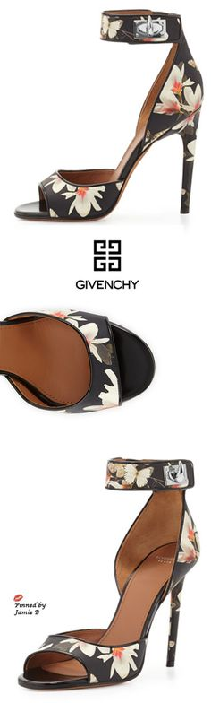Givenchy |Floral-Print Leather Ankle-Wrap Sandal | Jamie B