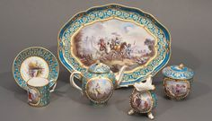 Sevres released a series of sets of cups and saucers richly decorated with gold and enamel depicting exquisitely painted portraits of kings, queens and aristocrats. Description from valentinagallery.com. I searched for this on bing.com/images
