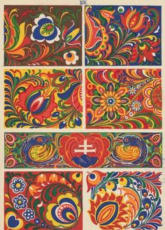 Slovak Ornaments- Slovenská ornamentika - Kostelníček Štefan L. Embroidery Designs, Folk Embroidery, Folk Art Flowers, Flower Art, Thinking Day, Arte Popular, Gouache, Painting & Drawing, Painting Tips