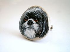 Custom Pet Portrait Hand Painted Pebble Ring  , Personalized Jewelry,  art on stone, (made to order) women accessory. $50.00, via Etsy.