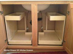 60 Trendy Kitchen Storage Cabinets Ideas Under Sink Kitchen Sink Storage, Diy Kitchen Shelves, Kitchen Drawers, Kitchen Ideas, Kitchen Pantry, Kitchen Layout, Pantry Ideas, Bathroom Shelves, Bathroom Cabinet Storage