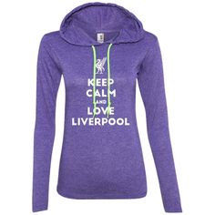 Keep Calm and Love The Reds 887L Anvil Ladies' LS T-Shirt Hoodie