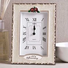 40th Ruby Wedding Anniversary Quartz Clock, a beautiful design for the special couple.