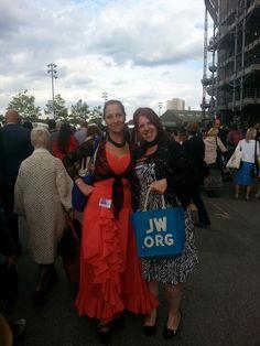 Two wonderful sister's fashioning the JW. ORG bag