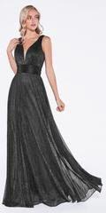 Cinderella Divine Black Ruched V-Neck and Back Pleated Long Formal Dress Full Length Skirts, Floor Length Dresses, Bride Dresses, Prom Dresses, Formal Dresses, Funeral Dress, Dream Prom, Pleated Bodice, Latest Dress