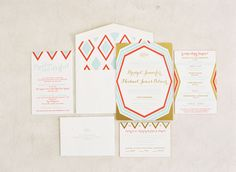 mid-century modern invitation/Paper Goods by Posh Paperie/Photo by Braedon Flynn/Planning by The Green Ribbon Party Planning Co.