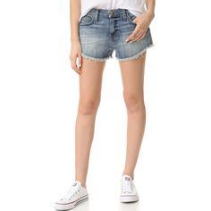Current/Elliott Gam Shorts (13,215 INR) ❤ liked on Polyvore featuring shorts, short jean shorts, denim shorts, denim short shorts, cuffed shorts and frayed jean shorts