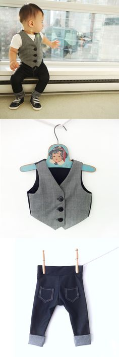 baby boy vest and jean set - the funky ring bearer.