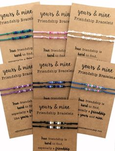 Friendship Bracelet set of TWO DETAILS: Cotton ~ 100% COTTON and 100% Biodegradable, lightly waxed/polished to prevent fraying Length ~ adjustable from 6 - 10 inches circumference Seed Beads ~ 4 mm True friendship is hard to find, especially a friendship like Yours & Mine