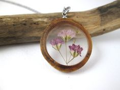 Pink and Purple Baby's Breath and Wood Pendant by OonaCreation