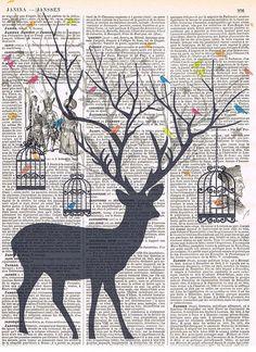 Deer Bird.birdcage.collage.Fantasy. Antique
